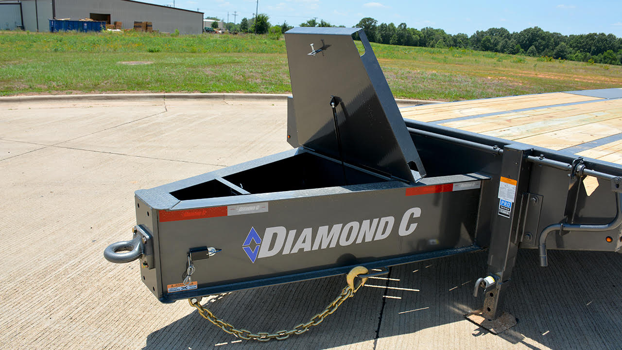 Model PX210 pintle hitch trailer with HD V-Tongue Lid Box