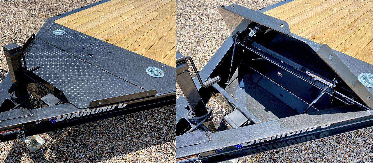 Model GTF car hauler with lockable v-tongue storage lid